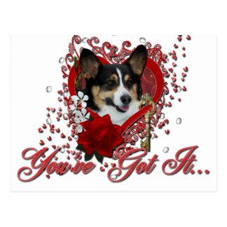Valentines - Key to My Heart - Corgi Postcard