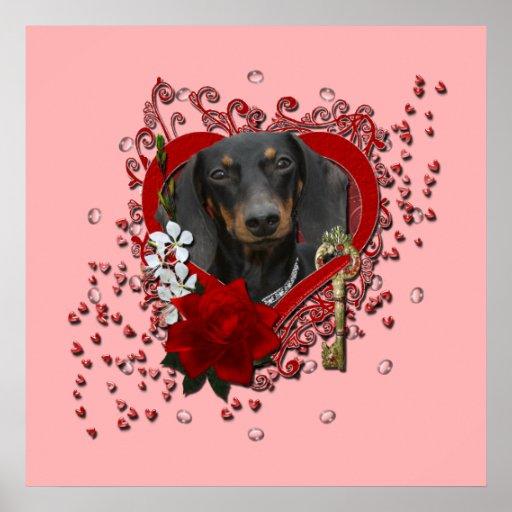 Valentines - Key to My Heart - Dachshund - Winston Poster