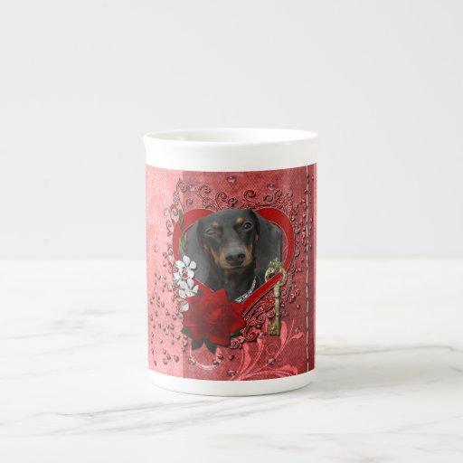 Valentines - Key to My Heart - Dachshund - Winston Bone China Mugs