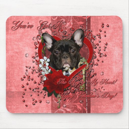 Valentines - Key to My Heart - French Bulldog Mouse Pad