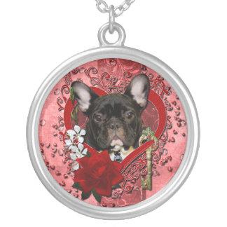 Valentines - Key to My Heart - French Bulldog Round Pendant Necklace