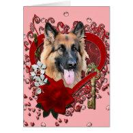 Valentines - Key to My Heart - German Shepherd Greeting Cards
