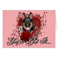 Valentines - Key to My Heart -German Shepherd Kuno Cards