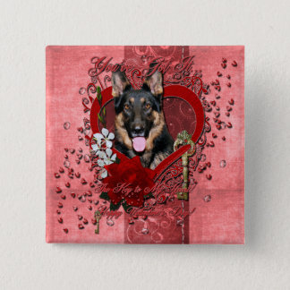 Valentines - Key to My Heart -German Shepherd Kuno Pinback Button