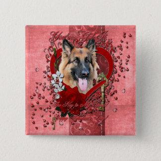 Valentines - Key to My Heart - German Shepherd Pinback Button