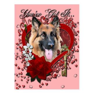 Valentines - Key to My Heart - German Shepherd Postcard