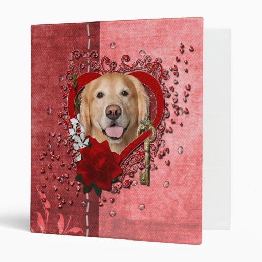 Valentines - Key to My Heart - Golden Retriever - 3 Ring Binder