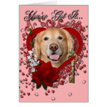 Valentines - Key to My Heart - Golden Retriever - Greeting Card