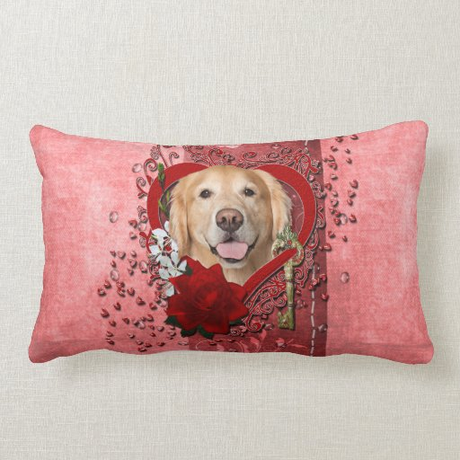 Valentines - Key to My Heart - Golden Retriever - Throw Pillow