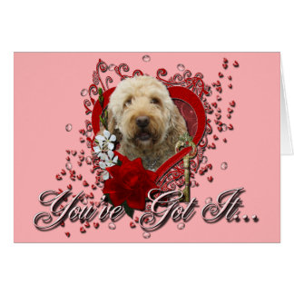 Valentines - Key to My Heart - GoldenDoodle Greeting Card