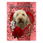 Valentines - Key to My Heart - GoldenDoodle Postcard