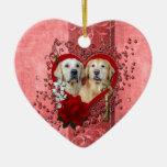 Valentines - Key to My Heart - Goldens - Corona Te Christmas Tree Ornaments