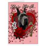 Valentines - Key to My Heart - Great Dane - Grey Card