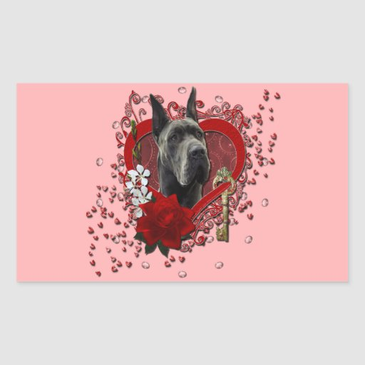 Valentines - Key to My Heart - Great Dane - Grey Rectangle Stickers