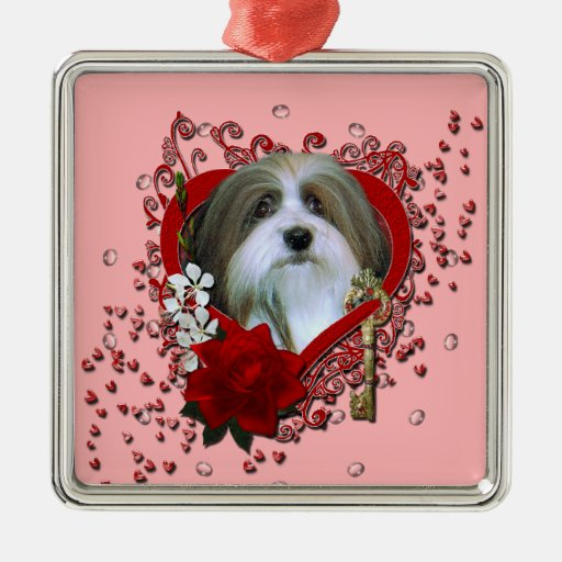 Valentines - Key to My Heart - Havenese Square Metal Christmas Ornament