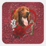 Valentines - Key to My Heart - Irish Setter Square Sticker