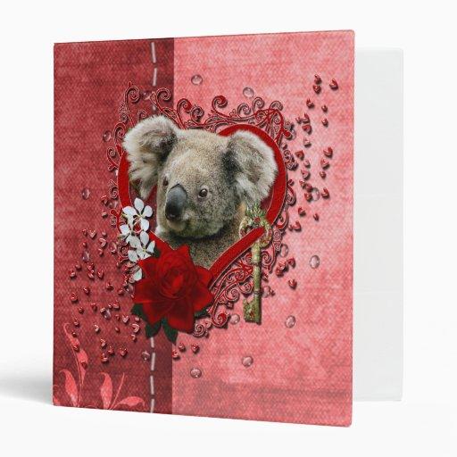Valentines - Key to My Heart - Koala Bear 3 Ring Binder
