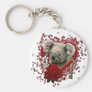 Valentines - Key to My Heart - Koala Bear Key Chain
