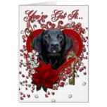 Valentines - Key to My Heart - Labrador - Black Card