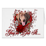 Valentines - Key to My Heart - Labrador -Chocolate Greeting Card