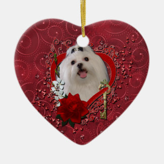 Valentines - Key to My Heart - Maltese Double-Sided Heart Ceramic Christmas Ornament