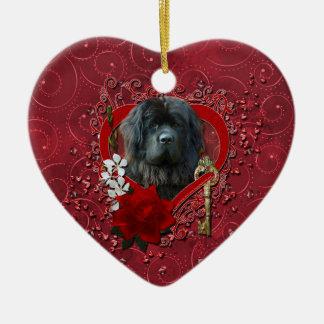 Valentines - Key to My Heart - Newfoundland Double-Sided Heart Ceramic Christmas Ornament