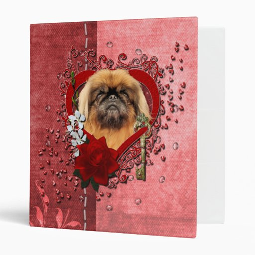 Valentines - Key to My Heart - Pekingese - Pebbles Vinyl Binder
