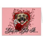 Valentines - Key to My Heart - Pitbull - Tigger Greeting Card