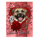 Valentines - Key to My Heart - Pitbull - Tigger Postcard