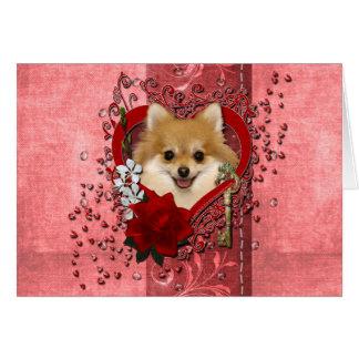 Valentines - Key to My Heart - Pomeranian Card