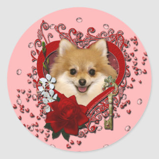 Valentines - Key to My Heart - Pomeranian Classic Round Sticker