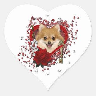 Valentines - Key to My Heart - Pomeranian Heart Sticker
