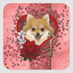 Valentines - Key to My Heart - Pomeranian Square Sticker