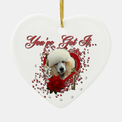 Valentines - Key to My Heart - Poodle - Apricot Christmas Ornaments