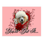 Valentines - Key to My Heart - Poodle - Apricot Postcard