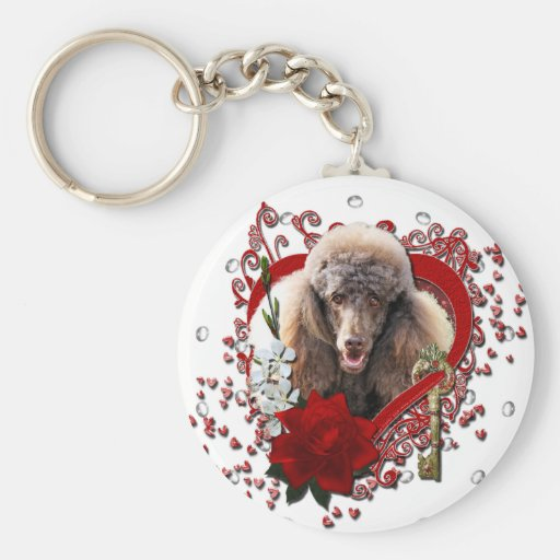 Valentines - Key to My Heart - Poodle - Chocolate Keychains