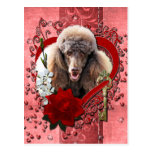 Valentines - Key to My Heart - Poodle - Chocolate Postcard