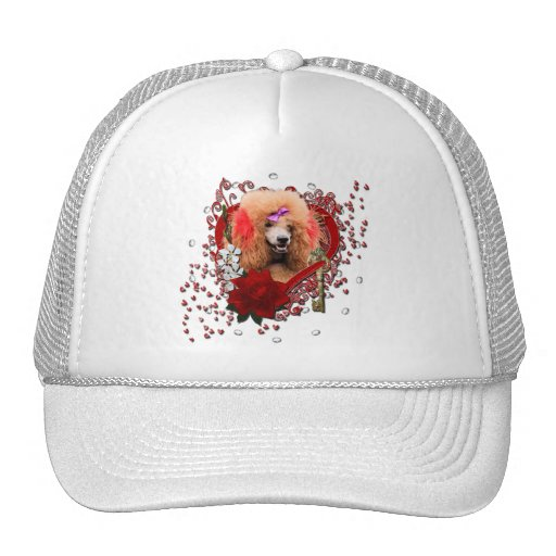 Valentines - Key to My Heart - Poodle - Red Mesh Hats