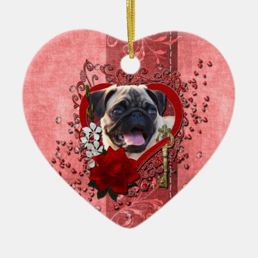 Valentines - Key to My Heart - Pug Double-Sided Heart Ceramic Christmas Ornament