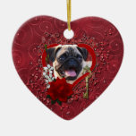 Valentines - Key to My Heart - Pug Ornaments