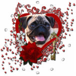 Valentines - Key to My Heart - Pug Standing Photo Sculpture
