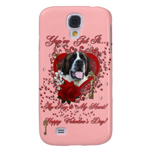 Valentines - Key to My Heart - Saint Bernard - Mae Samsung Galaxy S4 Covers