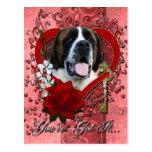 Valentines - Key to My Heart - Saint Bernard - Mae Postcard