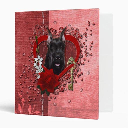 Valentines - Key to My Heart - Schnauzer 3 Ring Binders