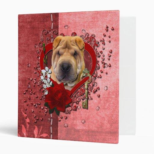 Valentines - Key to My Heart - Shar Pei 3 Ring Binders