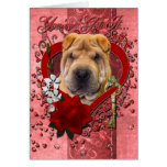 Valentines - Key to My Heart - Shar Pei Greeting Cards