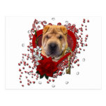 Valentines - Key to My Heart - Shar Pei Postcard