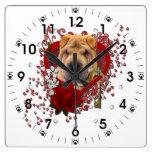 Valentines - Key to My Heart - Shar Pei Wall Clock