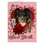 Valentines - Key to My Heart - Sheltie - Chani Greeting Card