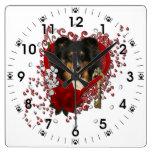 Valentines - Key to My Heart - Sheltie - Chani Square Wall Clock